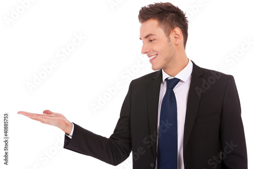 business man holding empty hand