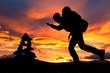 Trekking in der Morgenröte