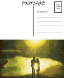 Empty Blank Postcard Template Reflection Couple Image