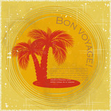 Vintage travel postcard - two palm trees poster