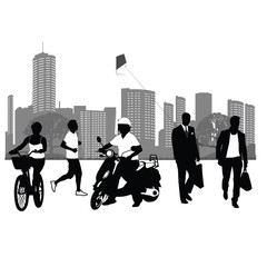 Vector illustration.People silhouettes