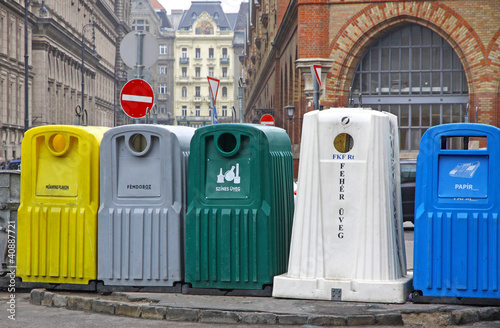 Five recycle bins for waste segregation in Budapest