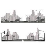 Vector illustration.City skyline and highway silhouette