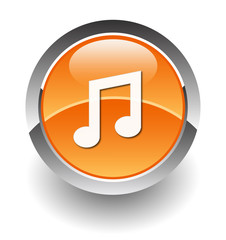 music orange button