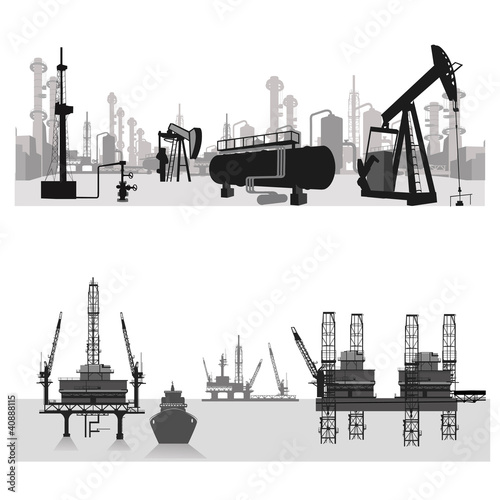 Vector illustration. Oil refinery .Oil platform