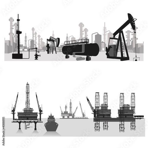 Vector illustration. Oil refinery .Oil platform