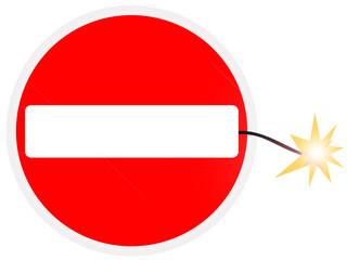 Sinal de trânsito original - fim do sentido proibido (explosão)