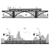 Vector illustration.City scape silhouette. Train on a bridge .
