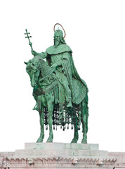 Statue of Saint Stephen I - the first king of Hungary isolated o