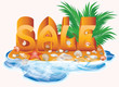 Summer sale imagen with palm tree and seashells
