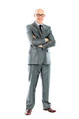 Young businessman standing with his hands holding