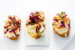 canape with pear, cheese, radicchio and thyme
