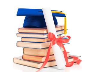 Books With Graduation Cap & Diploma