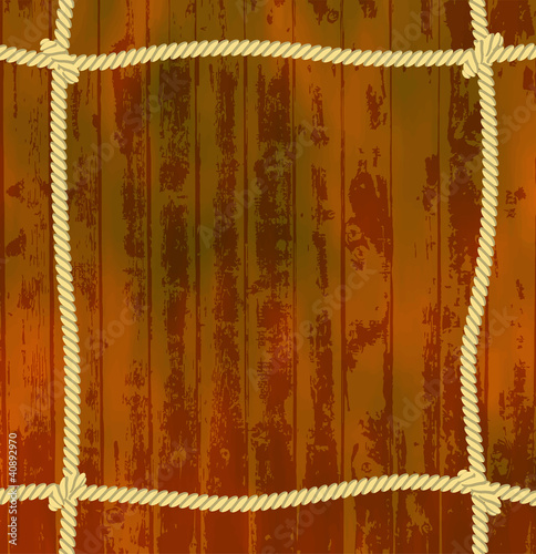 Rope frame with wooden background