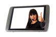 Tablet Pc and woman showing thumbs up