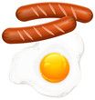 Fried eggs and sausage on white