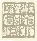 Mayan Glyphs Woodblock poster