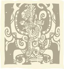 Mayan Woodblock Vision Serpent