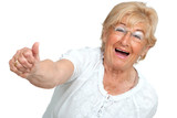 Happy senior woman showing positivity. poster