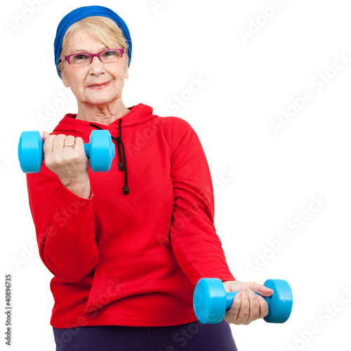 Elderly woman with weights.