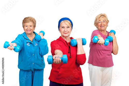 Three senior women doing workout.
