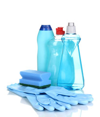 Detergents with gloves and sponge isolated on white