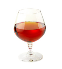 Glass of cognac isolated on white backgound