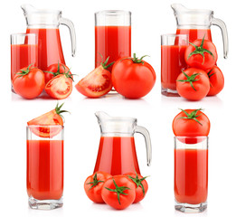 Set of tomatoes juice in pitcher with fruits isolated
