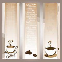 coffee banners set - tazze di caffè e chicchi