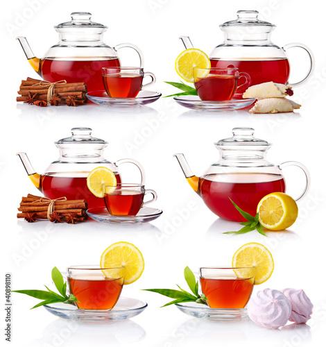 Set of teapot with black tea isolated on white