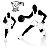 Silhouettes of Basketball Players Vector