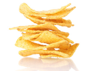 tasty potato chips isolated on white