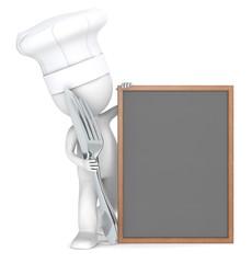 Menu.The Chef with an empty Menu Board.
