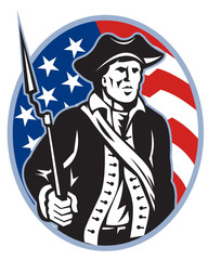 American Patriot Minuteman With Bayonet Rifle And Flag