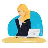 Vector illustration of elegant young business woman