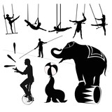 Vector illustration.Circus silhouettes