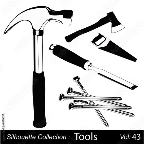 Vector illustration set of different hand tools