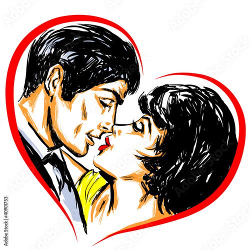 Portrait couple amoureux baiser coeur - 40901753