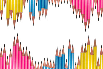 Row of Pencils Isolated on White Background