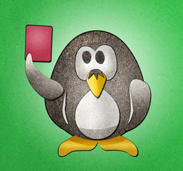 Penguin red card  Expelled from the field recycled paper craft s