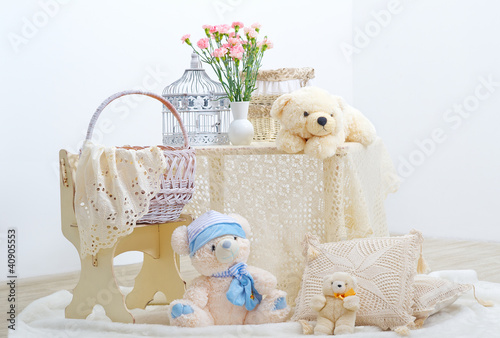 Playroom interior for children with teddy bears