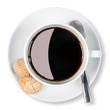 Cup of coffee and biscuits isolated clipping path.