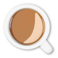 Overhead mug of coffee isolated clipping path.