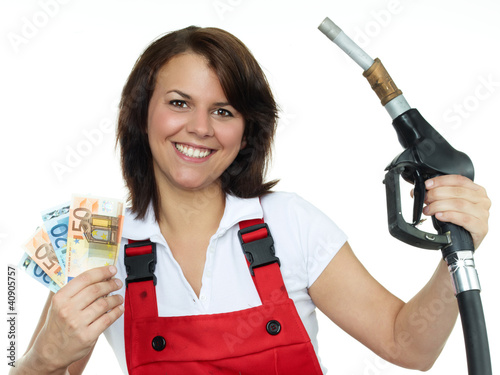 Woman is happy to save ready cash for fuel