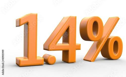 1.4 % 3d Schrift orange
