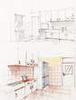 interior sketched perspective of apartment kitchen
