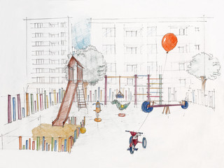 sketched perspective of outdoors children's playground