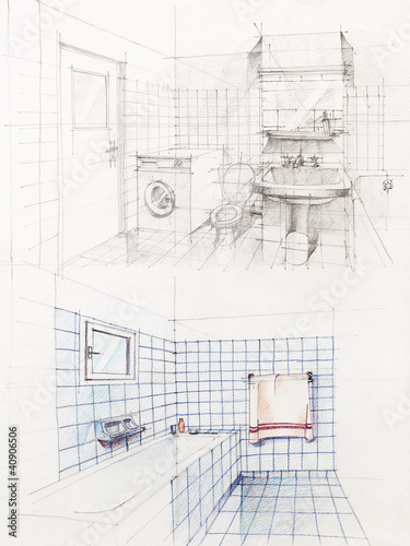 interior sketched perspective of apartment bathroom