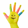 colorful hand with smile and happy finger smileys as logo.