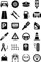 icons of motor vehicles, traffic, mechanical...